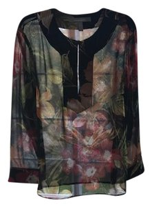 Ellen Tracy New Silk Sheer Newwithouttags Stunning Top Black Red Flowers