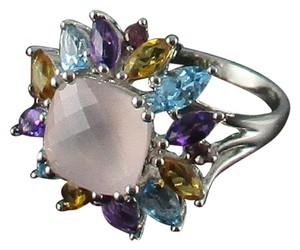 Other 4.08ct Rose Quartz and Gemstone Sterling Ring