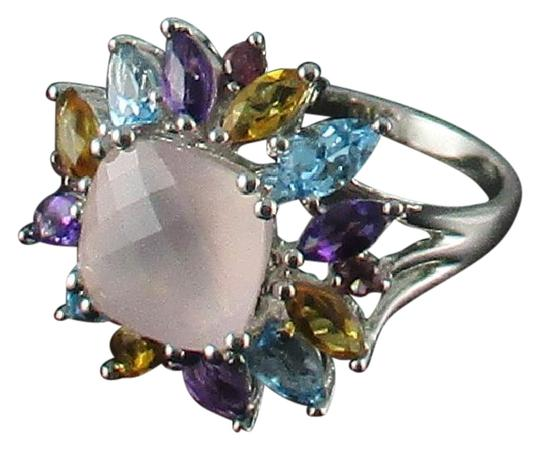 Other 4.08ct Rose Quartz and Gemstone Sterling Ring Image 0