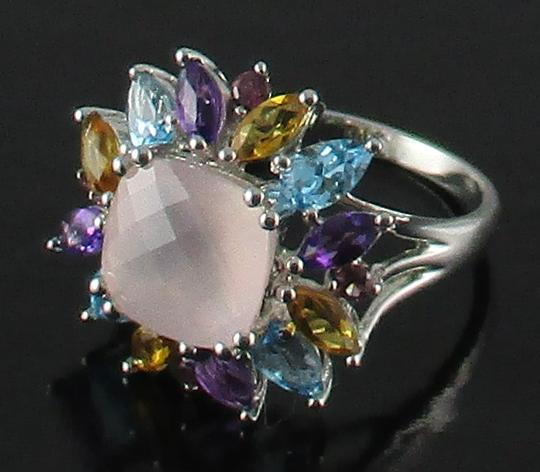 Other 4.08ct Rose Quartz and Gemstone Sterling Ring Image 2