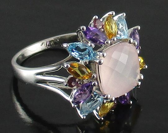 Other 4.08ct Rose Quartz and Gemstone Sterling Ring Image 4