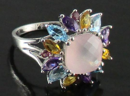 Other 4.08ct Rose Quartz and Gemstone Sterling Ring Image 5