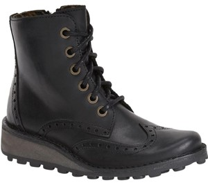 FLY London Black Wingtip Combat Boots