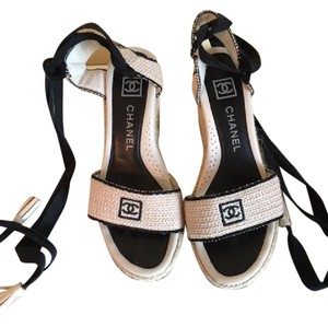 Chanel Sandals Espadrilles Black and Tan Wedges