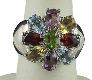 Other Multigemstone Sterling Silver Floral Ring