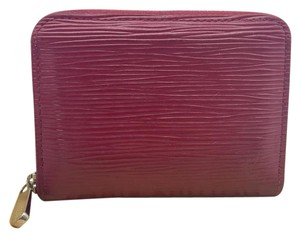 Louis Vuitton red pink fuchsia epi leather zippy zip up compact wallet coin purse