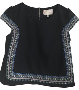 J.O.A. Embroidered Dryclean Only Top Navy