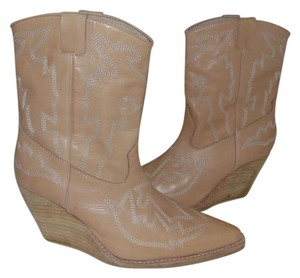 Jeffrey Campbell Western Natural Leather Cowboy wedge Festival Boots