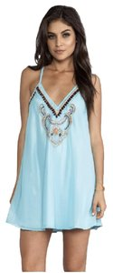 Other short dress Light Blue Beaded Flowy Mini Racer-back on Tradesy