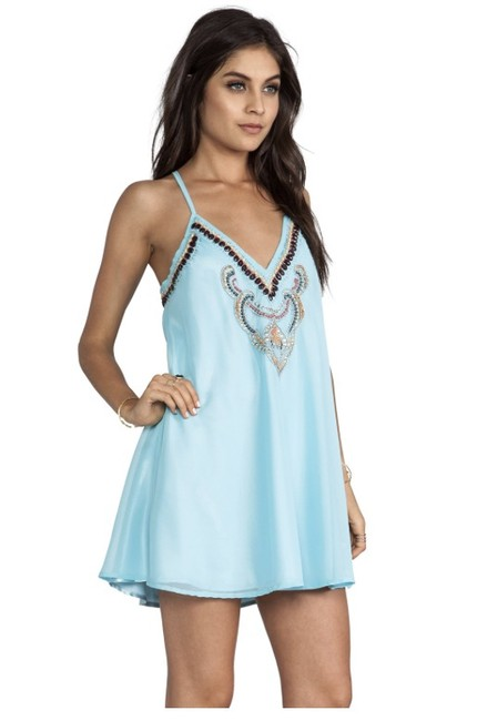 Other short dress Light Blue Beaded Flowy Mini Racer-back on Tradesy Image 3