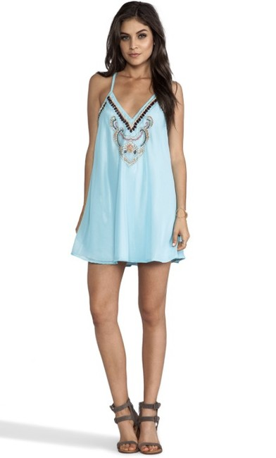 Other short dress Light Blue Beaded Flowy Mini Racer-back on Tradesy Image 4