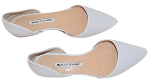 Manolo Blahnik Leather White Flats