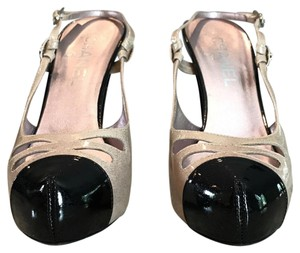 Chanel Sparkle Slingback Chunky Light pink/Black Pumps
