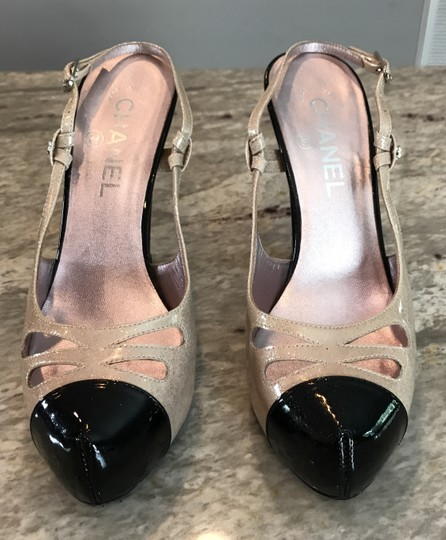 Chanel Sparkle Slingback Chunky Light pink/Black Pumps Image 1