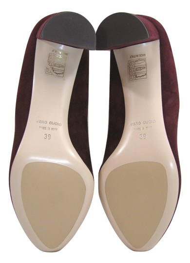 deimille Burgundy Wine 9 Suede Leather Heels Italy 39 New Anthropologie red Pumps Image 1