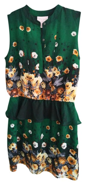 Item - Green Floral Rjcl12974 Mid-length Short Casual Dress Size 4 (S)