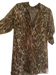 New York & Company Leopard Sheer Longsleeve Top Tan and Brown