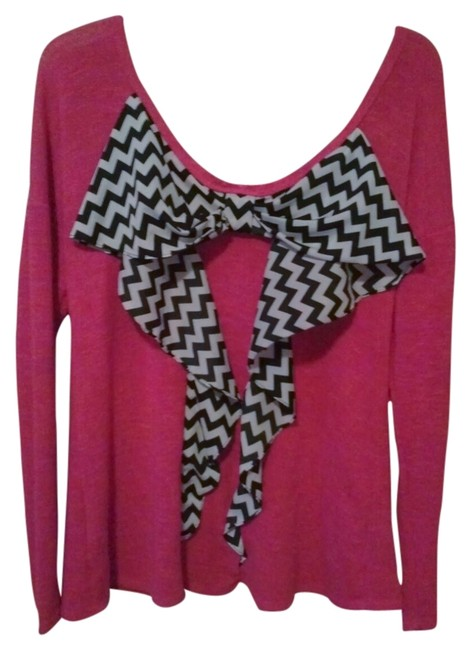 Item - W Bow W/ Chevron Stripes Bright Size X Large Hot Pink Black White Sweater