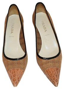 Prada Tweed Pointed Toe Brown Tweed Pumps