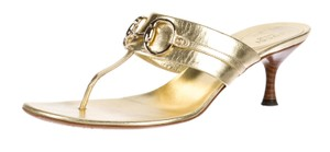 Gucci Hardware Gg Horsebit Logo Gold Sandals