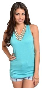 Basics Racer-back Crochet Tank Top Blue