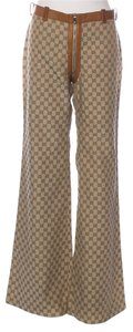 Gucci Monogram Leather Gg Embellished Wide Leg Pants Beige, Brown