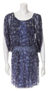 Catherine Malandrino short dress Blue, grey and white silk on Tradesy