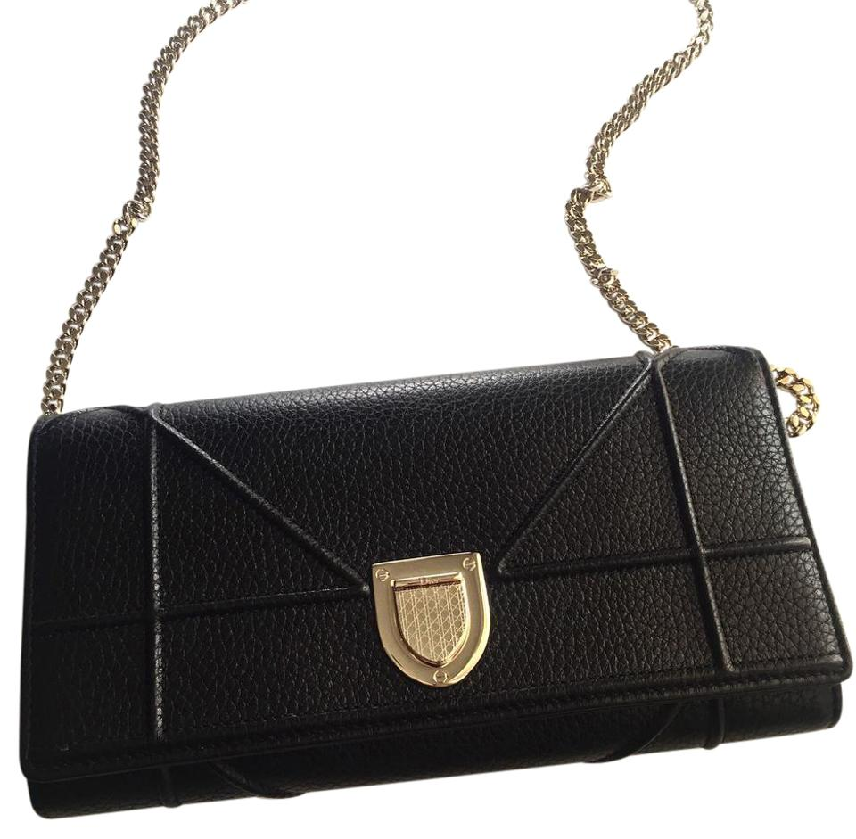 5b1b8e62000 Dior ***get Off****dior Diorama Wallet On Chain Clutch Black Leather Cross  Body Bag