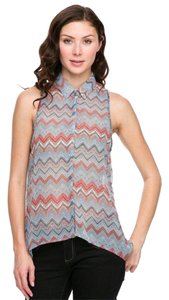 Ambiance Apparel Chevron Chiffon Top MultiColor