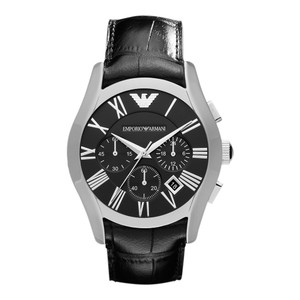 Emporio Armani Emporio Armani Mens Chrono Black Leather Strap 42mm Watch AR1633