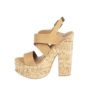 Steve Madden Leather Summer Brown, Tan, Cork Wedges