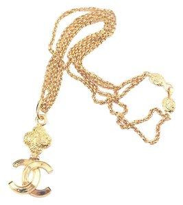 Chanel Chanel Vintage 24 Gold Plated CC Texture Double Chain Long Necklace