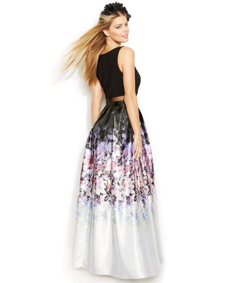 Betsy & Adam Ombre Print Popover Gown Long Formal Dress Size 10 (M ...