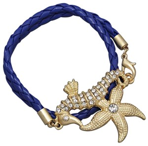 Other Crystal Accent Starfish Seahorse Blue Strap Wrap Around Bracelet