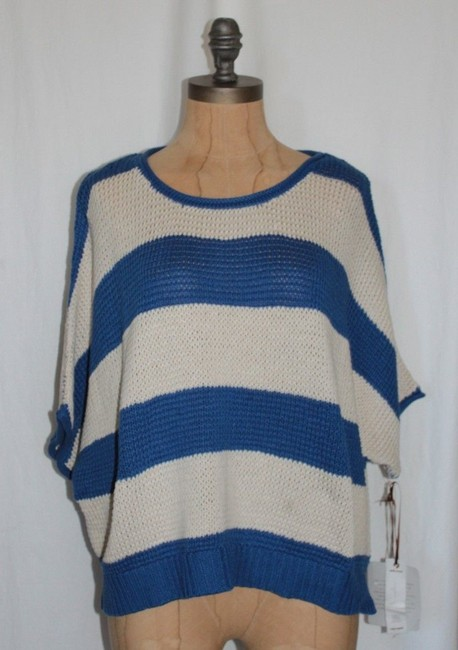 Willow & Clay Striped Oversized Red And Ivory Casual Relax Fit Sweater Image 2