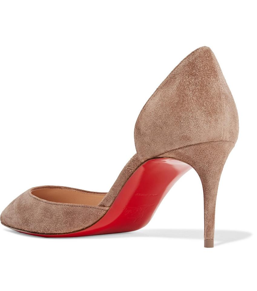 Christian Louboutin New Iriza 70mm Suede Kitten Heel Taupe