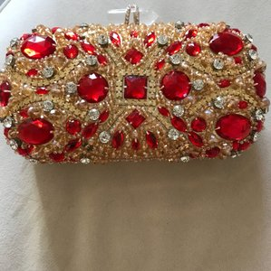 Gorgeous Brand-new Diamond Gold Clutch Handbag Purse Chain Wallet Wedding Bridal Engagement Prom Pageant Red Crystal