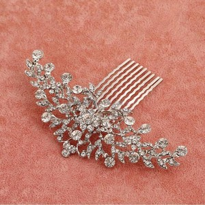 Brand-new Jewelry Hairpin Hair Accessory Gorgeous Bridal Engagement Prom Wedding Flower Vine Leave Crystal Bling