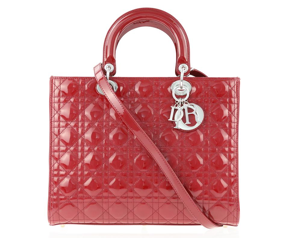 9fc9bc786d Dior Lady Large Red Patent Leather Tote - Tradesy