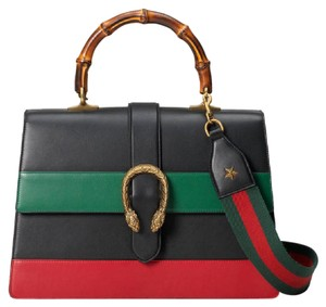 bf423c874632 Gucci Shoulder Bag. Gucci Dionysus Top Handle Stripe Large Black Red Green  Leather ...
