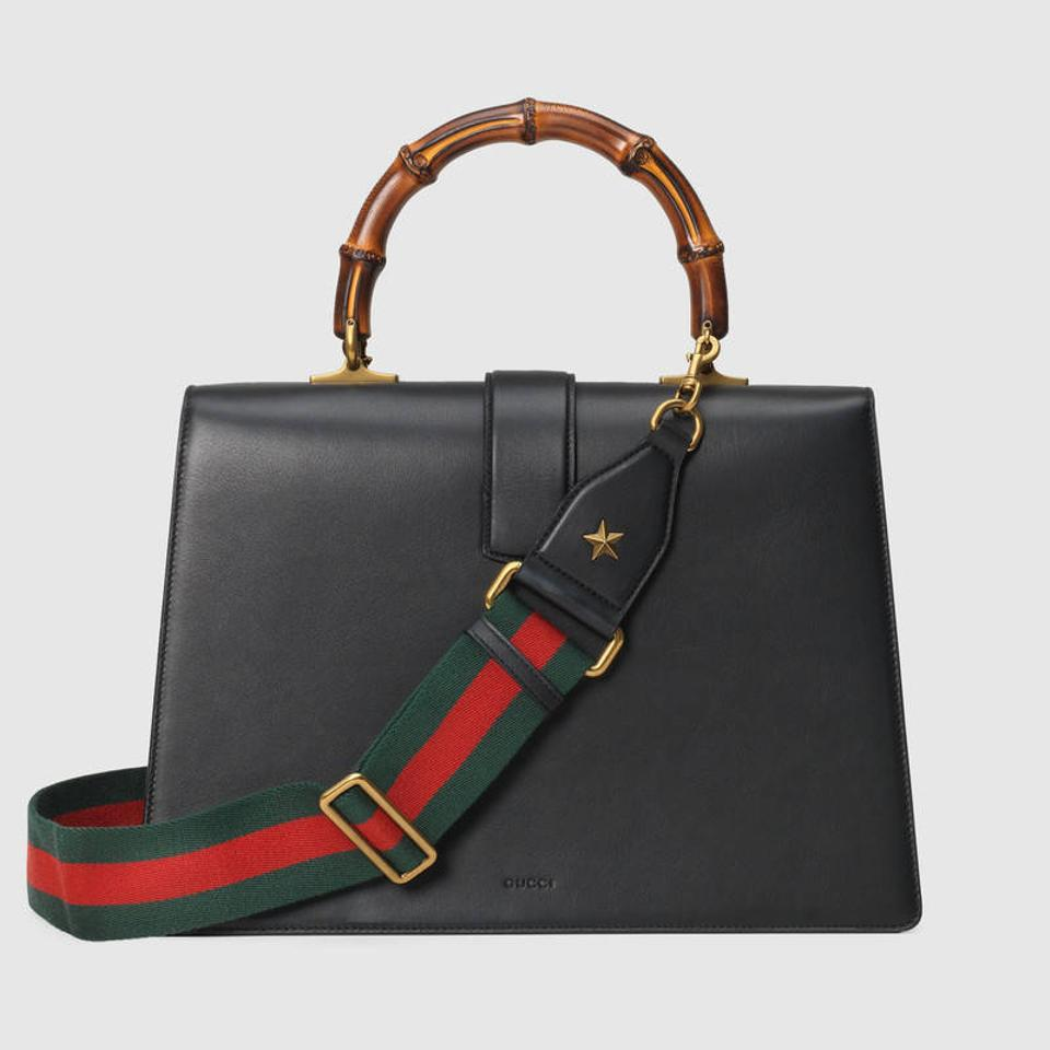 22d6138ab0e1 Gucci Dionysus Top Handle Stripe Large Black Red Green Leather ...