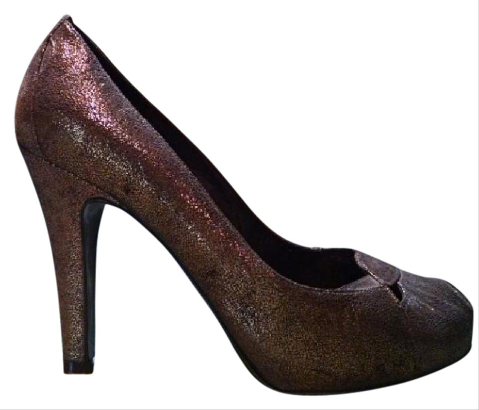 095d76f36089 Fendi Bronze Metallic Leather Cut Out Peep Toe Heels Pumps Size US ...