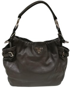 Prada Buckle Double Pocket Leather Shoulder Bag