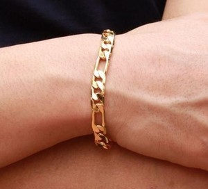 Other ** NWT ** FIGARO 14K GOLD women's ( 8MM / 7.5 INCH ) BRACELET