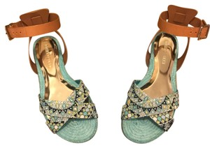 Emilio Pucci Turquoise and Tan Sandals