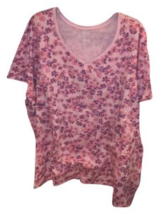 Woman Within T Shirt pink w/ sm flowers pink,purple & teal
