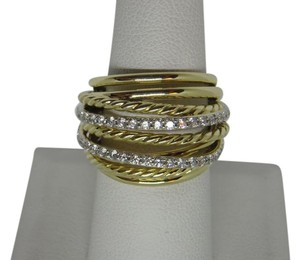 David Yurman X Crossover Dome Ring with Diamonds in 18K
