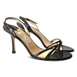 Jimmy Choo Slingback Leather Open Toe Crisscross Strap Black Sandals