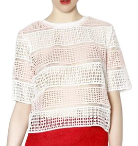 Rehab & White Crop Striped Lace Mesh Top Pink