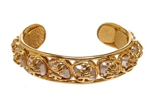 Chanel Chanel Gold CC and Faux Pearls Vintage Cuff Bracelet 95A